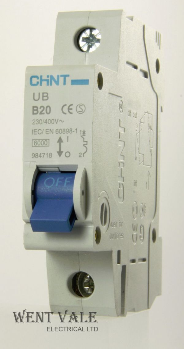 Chint UB-B20 - 984718 - 20a Type B Single Pole MCB Un-used